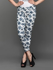 Floral Print Slim Fit Cotton Trousers - LESLEY