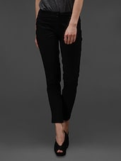 Black Cotton Lycra  Trouser - By