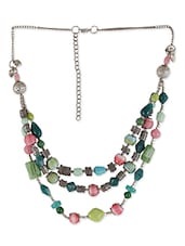Multi Colored Metal, Thread And Glass Beads Necklace - By