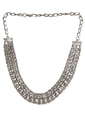 Silver Metal Alloy, Rhinestone Short  Necklace - By