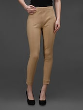Beige Cotton Knitted  Jegging - Rider Republic