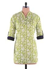 Floral Cotton Three-quarter Sleeve Kurta - Infiara