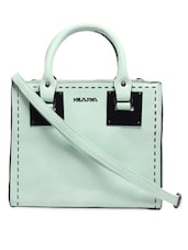 Hand Stitch Pattern Light Green Leatherette Handbag - KIARA
