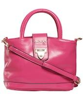 Solid Pink Handbag With Shield Button Closure - KIARA