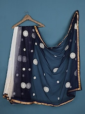 Off-White And Midnight Blue Net And Georgette Saree - Admyrin