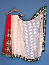 Red And Off-White Georgette Saree - Admyrin