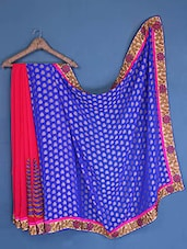 Coral And Royal Blue Georgette Saree - Admyrin
