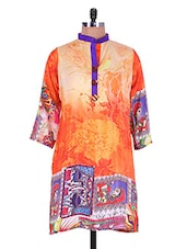 Orange Digital Print Crepe Kurti - Admyrin