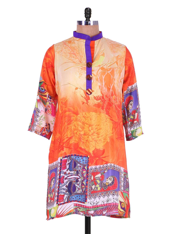 Orange Digital Print Crepe Kurti - Admyrin