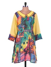 Multicoloured Abstract Print Georgette Kurti - Admyrin