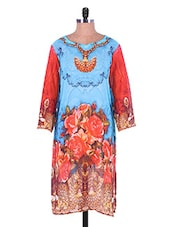 Sky Blue And Orange Printed Georgette Kurti - Admyrin