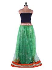 Bottle Green Printed Net Long Skirt - Admyrin