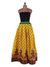 Ethnic Printed Mustard Yellow Cotton Long Skirt - Admyrin