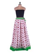 Peacock Print White Georgette Long Skirt - Admyrin