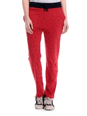Red Printed Cotton Pyajama - TAB91