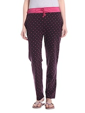 Dark Purple Printed Cotton Pyajama - TAB91