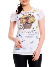 Printed Short Sleeves Cotton Top - TAB91