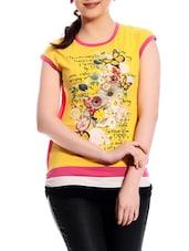 Floral Print Short Sleeves Top - TAB91