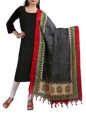 Black & Red Mysore Silk  Dupatta - By