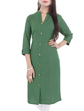 green cotton regular kurta -  online shopping for kurtas