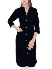 black cotton regular kurta -  online shopping for kurtas