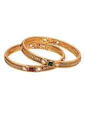Golden Bangles With Coloured Gemstones - Voylla