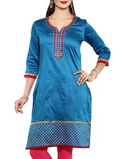 Turquoise Cotton Blend Kurta - By