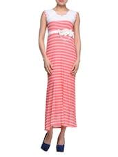 Striped Pink Sleeveless Maxi Dress - London Off