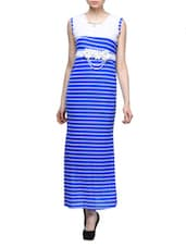 Striped Nautical Sleeveless Maxi Dress - London Off