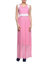 Pink Dress With White Floral Applique - London Off