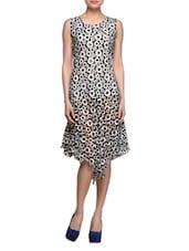 Asymmetric Round Neck Sleeveless Printed Dress - London Off