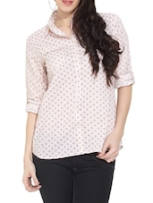White Printed Button-Up Sleeves Cotton Shirt - Victor Brown