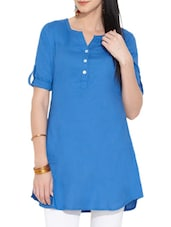 Blue Button -Up Sleeves Cotton Tunic - Victor Brown