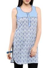 Blue Printed Sleeveless Cotton Kurti - Victor Brown