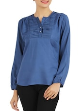 Blue Plain Pintucked Top - Victor Brown