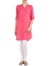 Pink Button-Up Sleeves Kurta - Victor Brown