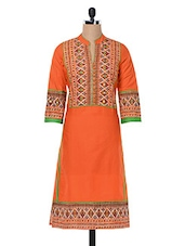 Printed Orange Kurta With Mirror Work - Inara Robes