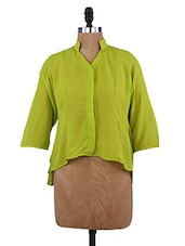 Lime Green Sequined Elbow Patch Asymmetric Top - Paschime