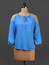 Solid Blue Cut-out Shoulder Top - Ridress