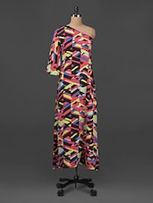 Abstract Print One -shoulder Cotton Maxi Dress - Ridress