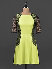 Neon Green & Black Lace A-line Dress - Ridress