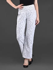 Floral High Waist Cotton Pants - Ridress