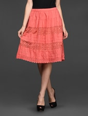 Lace Insert Knee Length Skirt - Studio West