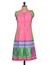 Mandarin Collar Sleeveless Printed Kurta - Yepme