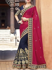 pink georgette bordered saree -  online shopping for Sarees