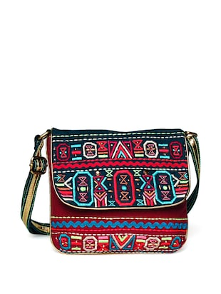 Tribal Embroidered Sling Bag -  online shopping for sling bags