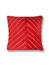 Red  60% Cotton, 40% Viscose Single Cushion Cover - By
