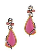 Adwitiya Collection 24K Gold Plated Pink Stone Embellished Tear Drop Earrings - By
