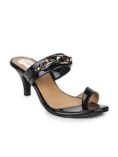 black leatherette one toe sandals -  online shopping for sandals