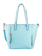 Sky Blue PU Handbag With Zipper Detailing - Lalana